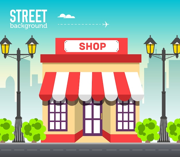 Cafe shop building in city space with road on flat syle background concept