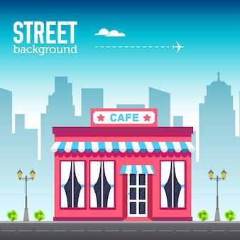Кафе, здание магазина в городском пространстве с дорогой на плоской концепции фона syle.