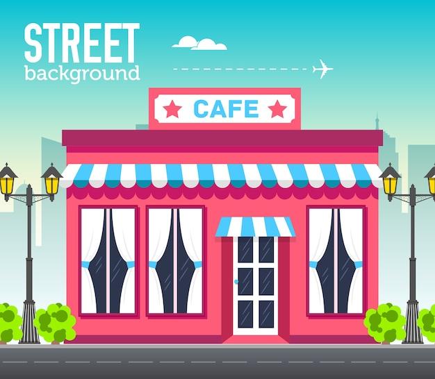 Кафе, здание магазина в городском пространстве с дорогой на плоской концепции фона