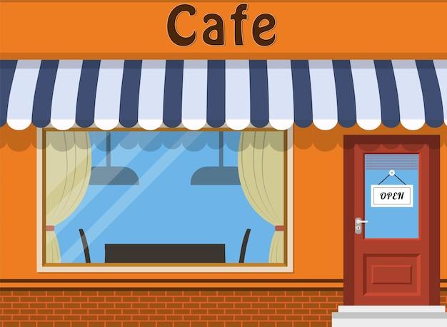 カフェショップ外観。通りのレストランの建物。