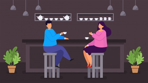 Cafe shop flat illustration