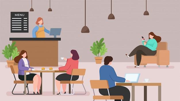 Cafe shop flat illustration