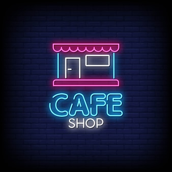 Cafe shop neon signs style text