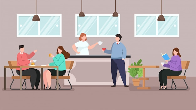 Cafe shop and people relaxing, vector flat illustration