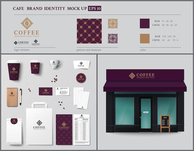 Cafe and showcase brand identity template design set vintage style vector illustration
