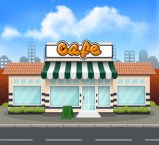 Плоский дизайн cafe store front