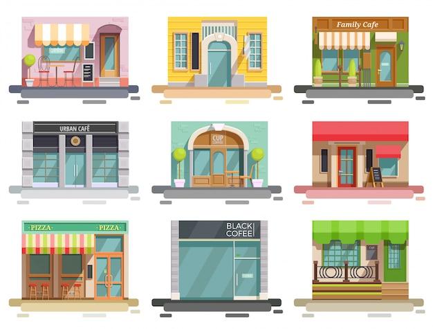 Cafe storefront flat set