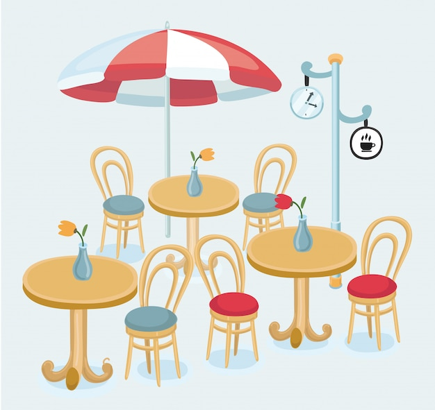 Cafe street coffee shop chairs table   illustration
