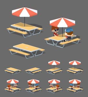 Cafe table with sun umbrella. 3d lowpoly isometric vector illustration
