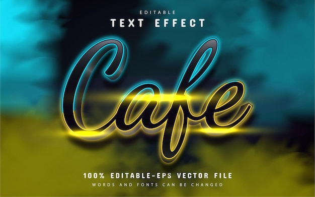 Cafe text, neon text effect