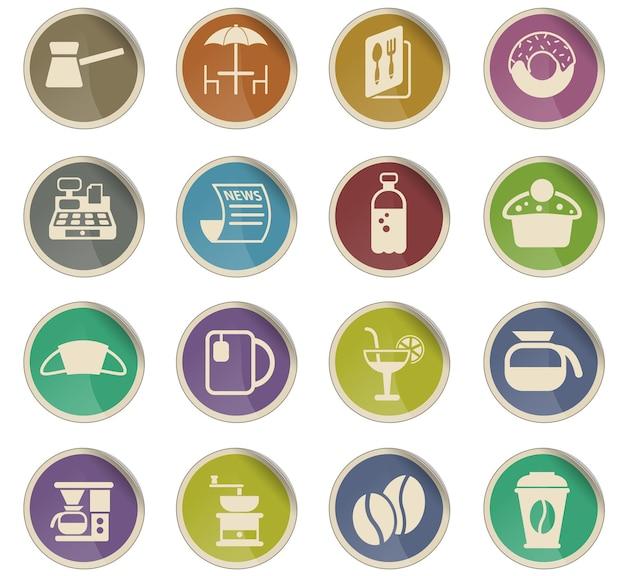 Векторные иконки кафе в виде круглых бумажных этикеток