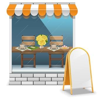 白い背景で隔離の看板とカフェ
