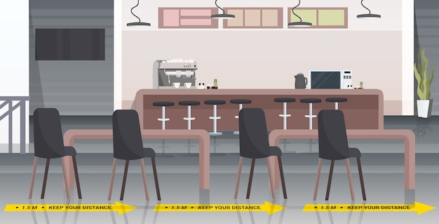 Cafe with signs for social distancing coronavirus epidemic protection measures concept modern restaurant interior horizontal