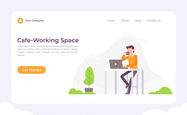 Cafe working space landing page