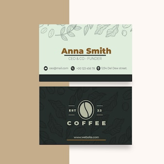 Cafeteria coffee shop horizontal business card template