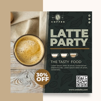 Cafeteria coffee shop square flyer template