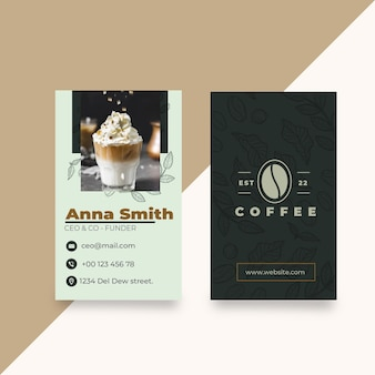 Cafeteria coffee shop vertical business card template