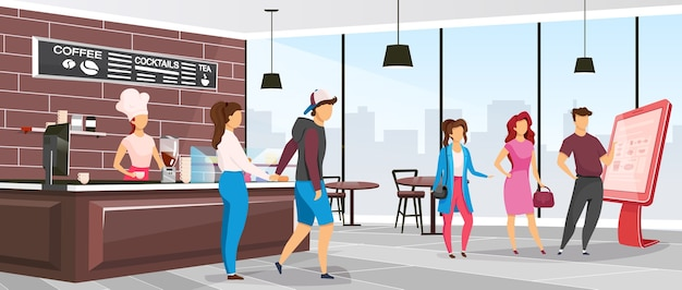 Cafeteria flat color . coffee shop customers. restaurant with clients and barista. waitress near counter in bistro. cafe 2d cartoon interior with characters on background