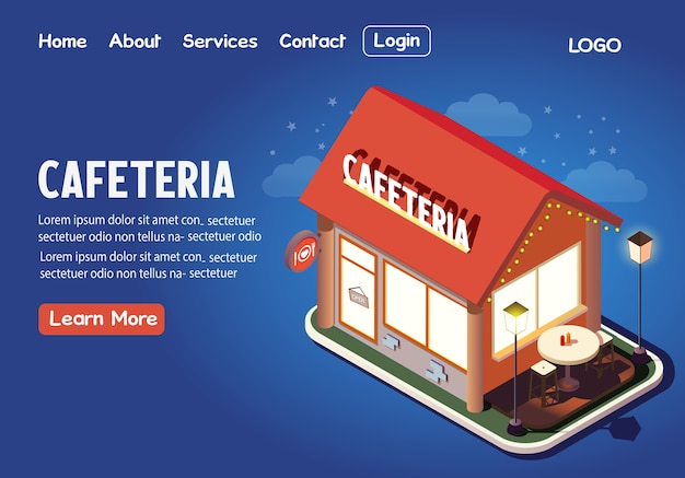 Cafeteria isometric landing page illustration