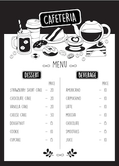Cafeteria menu, doodle cafe menu with dessert and beverage.