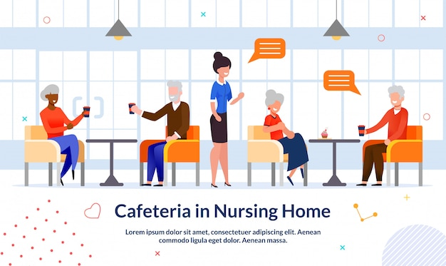 Cafeteria in nursing home advertising flat illustration