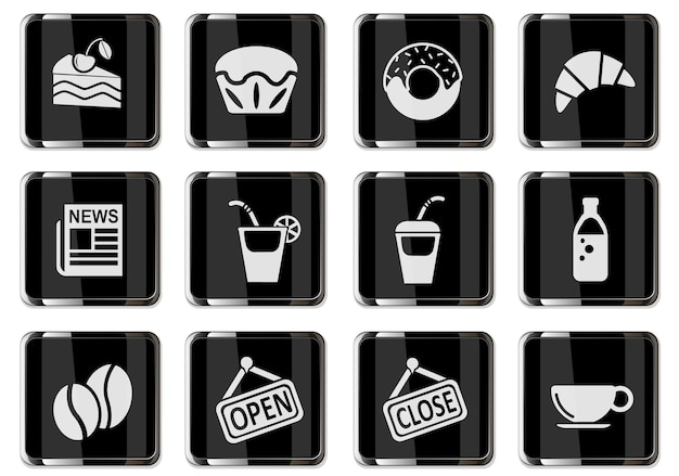 Cafeteria pictograms in black chrome buttons. icon set for your design. vector icons