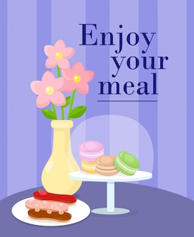 Cafeteria served table cartoon vector illustration