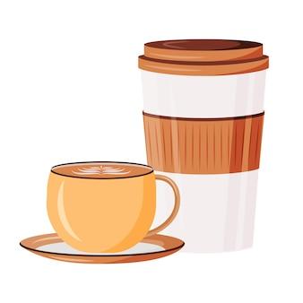 Caffeine drinks cartoon illustration