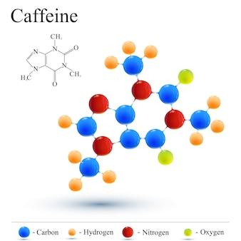 카페인 분자와 커피. 현대 로고 아이콘입니다.