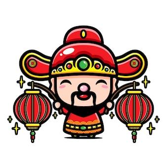 Cai shen design the god of prosperity Premium Vector