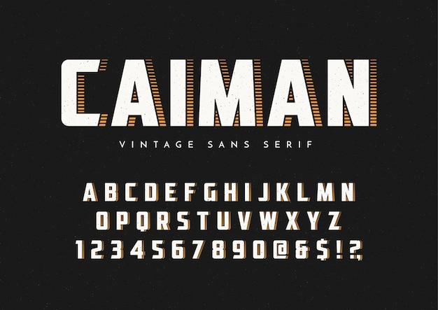 Caiman модный шрифт без засечек в стиле ретро