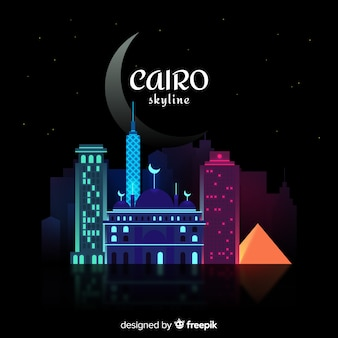 Cairo colorful skyline background