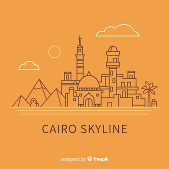 Cairo skyline composition with lineal style