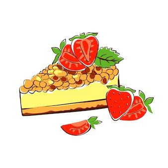 크림 딸기와 민트 잎이 있는 스폰지 케이크의 삼각형 조각 케이크 스케치 벡터