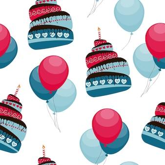 ケーキと風船の休日のシームレスなパターンの背景ベクトル図