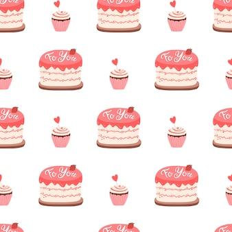 Торт и кекс с вареньем, украшенные на день святого валентина. бесшовный образец симпатичные рисованной иллюстрации