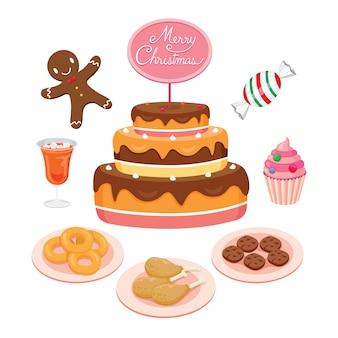 クリスマスの日とお祝いのケーキとフードセット