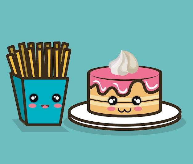 케이크와 감자 튀김 만화 음식 빠른 디자인