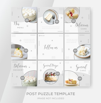 Cake banner collection for social media instagram feed puzzle