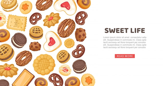Cake banner, sweet life  illustration. cookie, cupcake sweet food pastry, delicious  web page. sugar dessert set