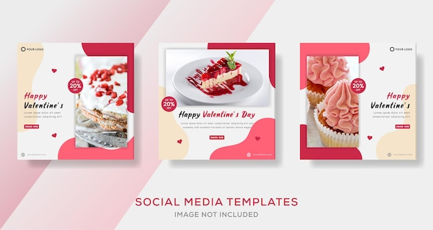 Cake banner for valentine day template premium