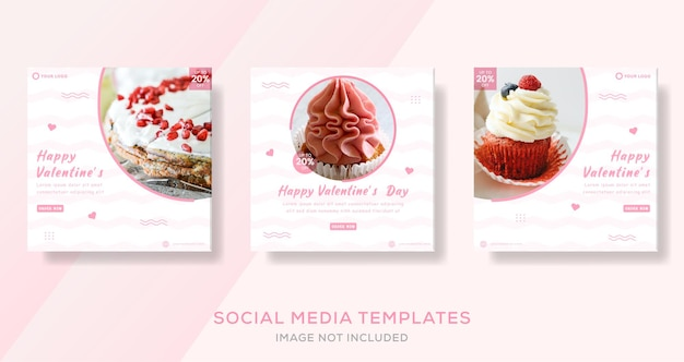 Cake banner for valentine day template