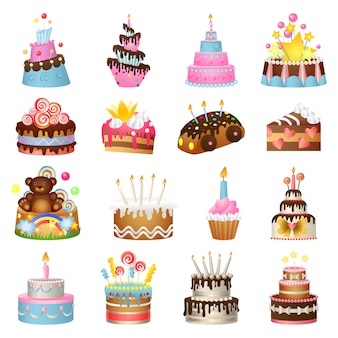 Cake birthday icons set, cartoon style