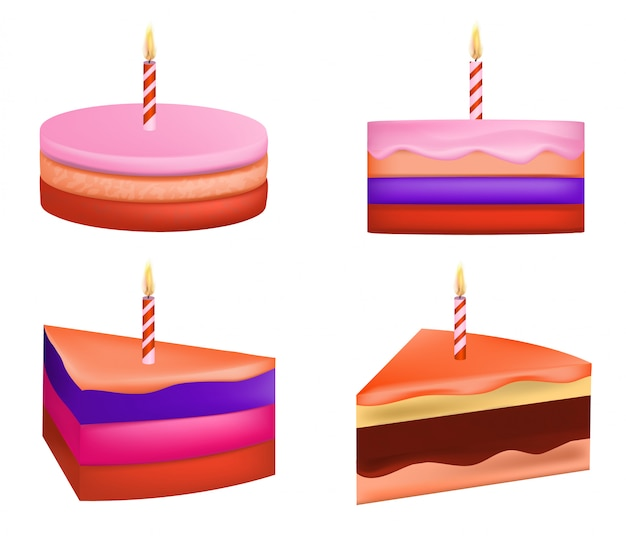 Cake birthday icons set, realistic style