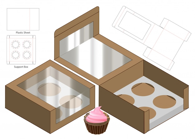 Cake box packaging die cut template design. 3d