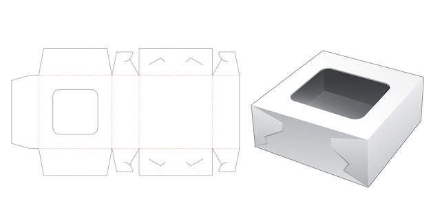 Cake box with top window die cut template