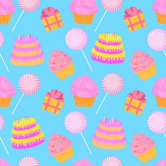 Cake, candy, gift. seamless pattern of sweets for children s birthday