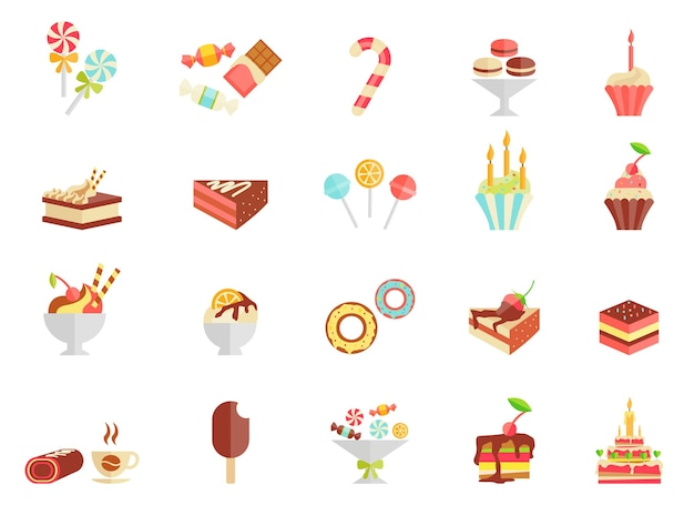 Cake candy and ice cream icons with assorted slices and wedges of cake