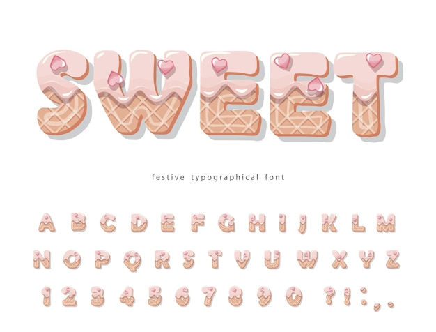 Cake cartoon font. cute sweet letters and numbers