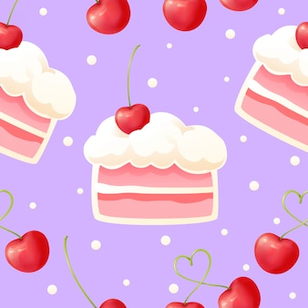 Cake and cherry seamless pattern